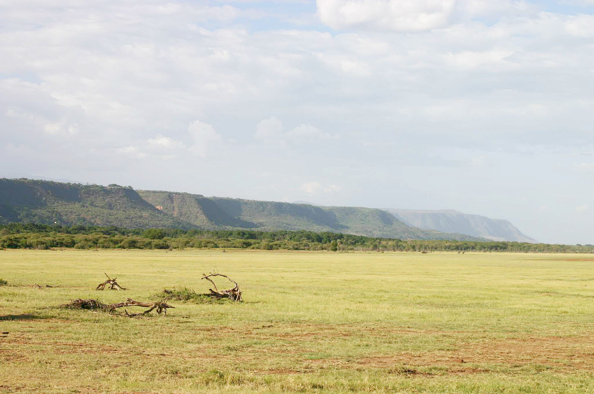 The Rift Valley escarpment, seen from a dry Lake Manyara
